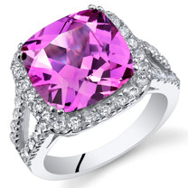 7.50 Cts Pink Sapphire Sterling Silver Ring Sizes 5 to 9 SR11096