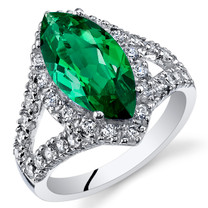 3.00 Cts Emerald Sterling Silver Ring Sizes 5 to 9 SR11100