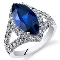 3.50 Cts Blue Sapphire Sterling Silver Ring Sizes 5 to 9 SR11102
