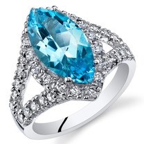 2.75 Cts Swiss Blue Topaz Sterling Silver Ring Sizes 5 to 9 SR11104
