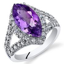 2.25 Cts Amethyst Sterling Silver Ring Sizes 5 to 9 SR11110
