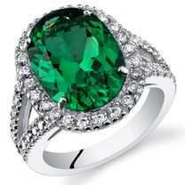 7.00 Cts Emerald Sterling Silver Ring Sizes 5 to 9 SR11112