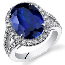 8.50 Cts Blue Sapphire Sterling Silver Ring Sizes 5 to 9 SR11114