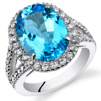 6.50 Cts Swiss Blue Topaz Sterling Silver Ring Sizes 5 to 9 SR11116