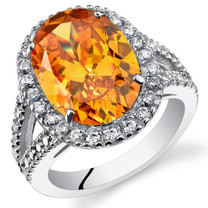 5.25 Cts Citrine Sterling Silver Ring Sizes 5 to 9 SR11120