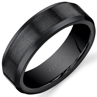 Mens 7mm Black Ceramic Wedding Ring Brushed Center Sizes 7