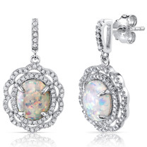 Created Opal Earrings Sterling Silver 2.50 Carats Halo Cabochon SE8396