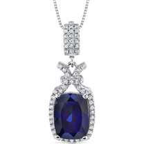 4.50 Cts Blue Sapphire Pendant Necklace Sterling Silver SP10972