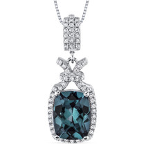 4.50 Cts Alexandrite Pendant Necklace Sterling Silver Cushion SP10974