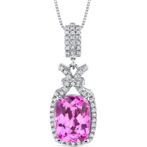 5.00 Ct Pink Sapphire Pendant Necklace Sterling Silver Cushion SP10978