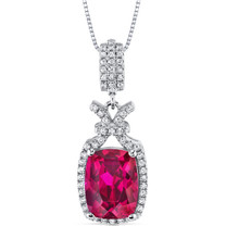 5.00 Cts Ruby Pendant Necklace Sterling Silver Cushion Cut SP10980