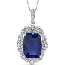 9.00 Cts Blue Sapphire Gallery Pendant Sterling Silver Cushion SP10982