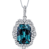 9.00 Cts Alexandrite Gallery Pendant Sterling Silver Cushion SP10984