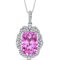 9.00 Cts Pink Sapphire Gallery Pendant Sterling Silver Cushion SP10988