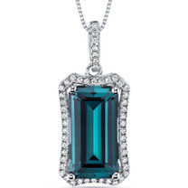 7.50 Cts Alexandrite Pendant Necklace Sterling Silver Octagon SP10994