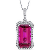 7.50 Cts Ruby Pendant Necklace Sterling Silver Octagon Cut SP11000