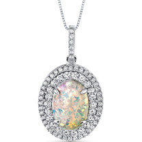 Opal Pendant Necklace Sterling Silver 2.25 Cts Oval Double Row SP11004