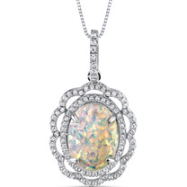 Opal Pendant Necklace Sterling Silver 2.25 Ct Oval Art Nouveau SP11006