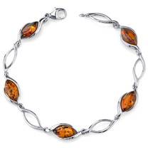 Baltic Amber Bracelet Sterling Silver Cognac Color Marquise Shape SB4372 SB4372