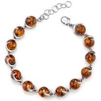 Baltic Amber Spiral Bracelet Sterling Silver Cognac Color Round Sphere Shape SB4374 SB4374