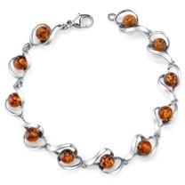 Baltic Amber Bracelet Sterling Silver Cognac Color Round Sphere Shape SB4376 SB4376