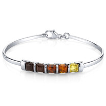 Five Stone Multi Color Baltic Amber Bangle Bracelet Sterling Silver SB4382 SB4382