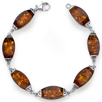 Baltic Amber Gallery Bracelet Sterling Silver Cognac Color SB4386 SB4386