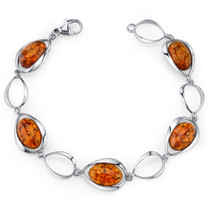 Baltic Amber Bracelet Sterling Silver Cognac Color Oval Shape SB4388 SB4388