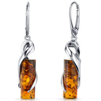 Baltic Amber Elliptical Earrings Sterling Silver Cognac Color Cylindrical Shape SE8482 SE8482