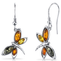 Baltic Amber Butterfly Dangle Earrings Sterling Silver Multiple Colors SE8484 SE8484