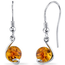 Baltic Amber Spherical Fishhook Earrings Sterling Silver Cognac Color SE8486 SE8486