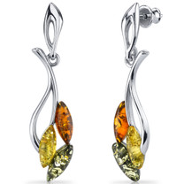 Baltic Amber Leaf Dangle Earrings Sterling Silver Multiple Color SE8488 SE8488