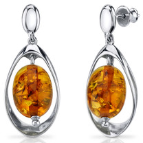 Baltic Amber Earrings Sterling Silver Cognac Color Oval Shape SE8490 SE8490