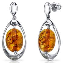 Baltic Amber Earrings Sterling Silver Cognac Color Oval Shape SE8490 SE8490