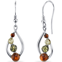 Baltic Amber Open Leaf Earrings Sterling Silver Multiple Colors SE8494 SE8494