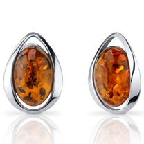 Baltic Amber Stud Earrings Sterling Silver Cognac Color Oval Shape SE8502 SE8502