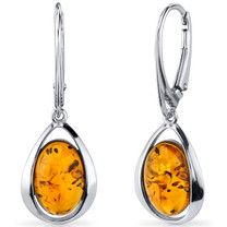 Baltic Amber Clip Style Earrings Sterling Silver Cognac Color Oval Shape SE8506 SE8506