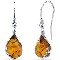Baltic Amber Tear Drop Earrings Sterling Silver Cognac Color Fish Hook SE8508 SE8508