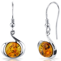 Baltic Amber Fishhook Earrings Sterling Silver Cognac Color Round Shape SE8510 SE8510