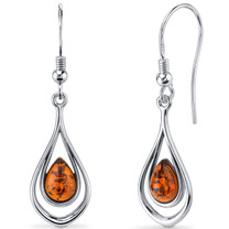 Baltic Amber Dangle Earrings Sterling Silver Cognac Color Tear Drop Shape SE8512 SE8512
