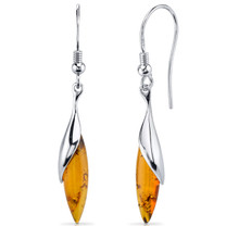 Baltic Amber Earrings Sterling Silver Cognac Color SE8514 SE8514