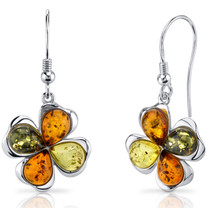 Baltic Amber Clover Earrings Sterling Silver Olive Honey and Cognac Colors SE8516 SE8516