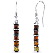 Five Stone Multi Color Baltic Amber Dangle Earrings Sterling Silver SE8520 SE8520