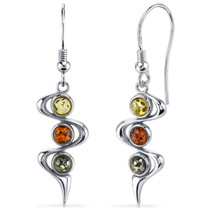 Three Stone Baltic Amber Earrings Sterling Silver Green Honey Cognac Colors SE8522 SE8522