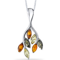 Baltic Amber Leaf Pendant Necklace Sterling Silver Multiple Colors SP11090 SP11090