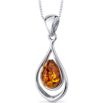 Baltic Amber Pendant Necklace Sterling Silver Cognac Color Tear Drop Shape SP11116 SP11116