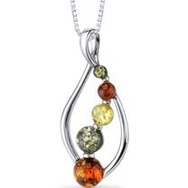 Baltic Amber Open Leaf Pendant Necklace Sterling Silver Multiple Colors SP11120 SP11120