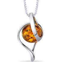 Baltic Amber Open Spiral Pendant Necklace Sterling Silver Cognac Color SP11124 SP11124