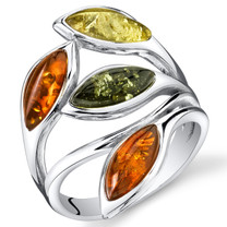 Baltic Amber Leaf Ring Sterling Silver Cherry Olive Honey Cognac Colors Sizes 5-9 SR11300