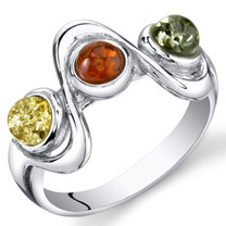 Three Stone Baltic Amber Ring Sterling Silver Squiggle Design Sizes 5-9 SR11306